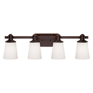 Cimmaron Rubbed Bronze Four Light Vanity Fixture with Etched White Glass