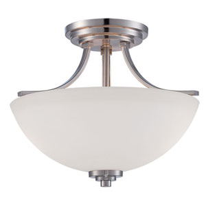 Camden Brushed Nickel 13.5-Inch Two-Light Semi-Flush Mount with Etched White Glass