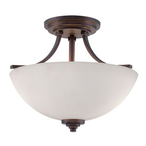 Camden Rubbed Bronze 13.5-Inch Two-Light Semi-Flush Mount with Etched White Glass