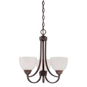 Camden Rubbed Bronze 18.5-Inch Three-Light Chandelier with Etched White Glass