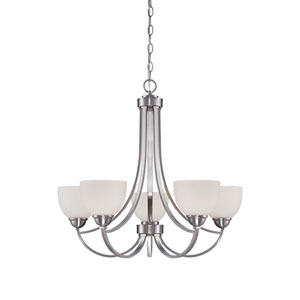 Camden Brushed Nickel 26-Inch Five-Light Chandelier with Etched White Glass