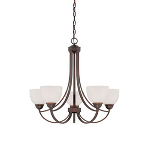 Camden Rubbed Bronze 26-Inch Five-Light Chandelier with Etched White Glass