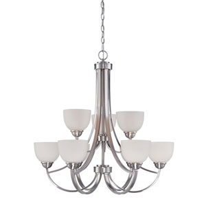 Camden Brushed Nickel 32-Inch Nine-Light Chandelier with Etched White Glass