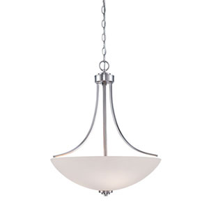 Camden Brushed Nickel 20.5-Inch Three-Light Pendant with Etched White Glass
