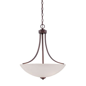 Camden Rubbed Bronze 20.5-Inch Three-Light Pendant with Etched White Glass