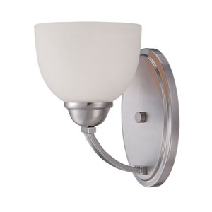 Camden Brushed Nickel 9-Inch One-Light Wall Sconce with Etched White Glass