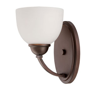 Camden Rubbed Bronze 9-Inch One-Light Wall Sconce with Etched White Glass