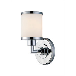 Chrome One Light Vanity Fixture with Etched White Glass