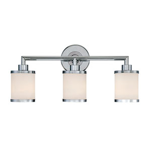 Chrome Three Light Vanity Fixture with Etched White Glass