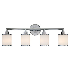 Chrome Four Light Vanity Fixture with Etched White Glass