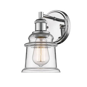Chrome One-Light Wall Sconce with Clear Glass
