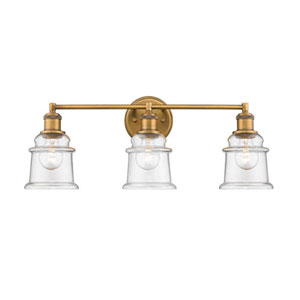 Heirloom Bronze Three-Light Vanity with Clear Glass