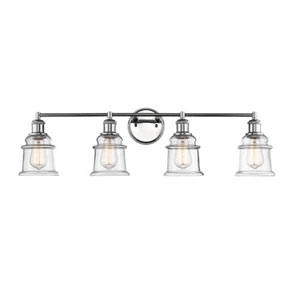 Chrome Four-Light Vanity with Clear Glass