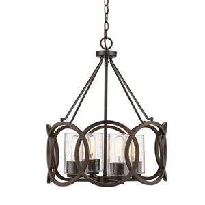 Delano Rubbed Bronze Four-Light Pendant with Clear Seeded Glass
