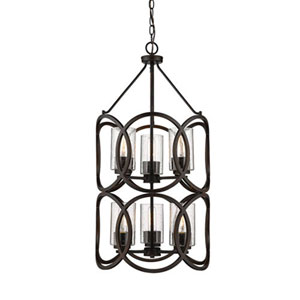 Delano Rubbed Bronze Six-Light Pendant with Clear Seeded Glass