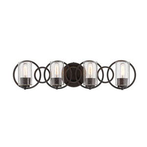 Delano Rubbed Bronze Four-Light Vanity with Clear Seeded Glass