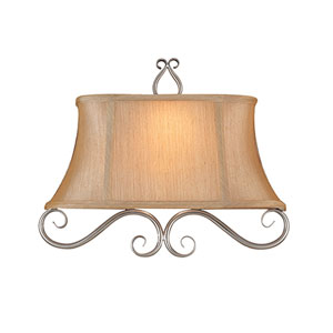 Satin Nickel Two-Light Sconce with Silver Shades