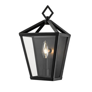 Powder Coat Black One-Light Outdoor Wall Bracket with Clear Glass