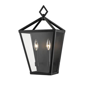 Powder Coat Black Two-Light Outdoor Wall Bracket with Clear Glass