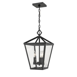 Powder Coat Black Four-Light Outdoor Hanging Lantern with Clear Glass