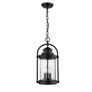 Powder Coat Black Three-Light Outdoor Hanging Lantern with Clear Seeded Glass