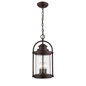 Powder Coat Bronze Three-Light Outdoor Hanging Lantern with Clear Seeded Glass