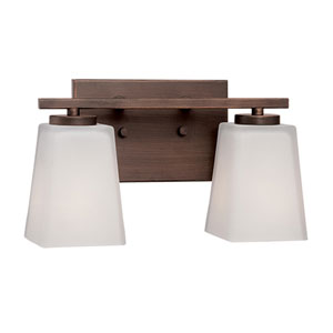 Rubbed Bronze 12.5-Inch Two-Light Vanity with Etched White Glass