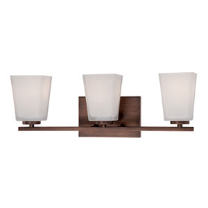 Rubbed Bronze 21-Inch Three-Light Square Vanity with Etched White Glass