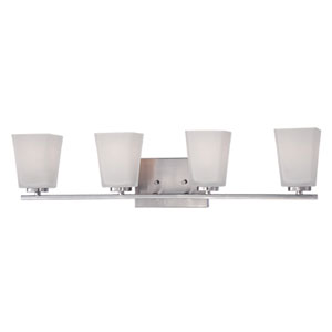 Brushed Nickel 29.5-Inch Four-Light Vanity with Etched White Glass