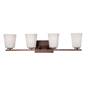 Rubbed Bronze 29.5-Inch Four-Light Vanity with Etched White Glass