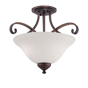 Kingsport Rubbed Bronze 16-Inch Two-Light Semi-Flush Mount with Etched White Glass
