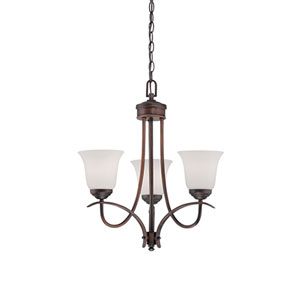 Kingsport Rubbed Bronze 20-Inch Three-Light Chandelier with Etched White Glass