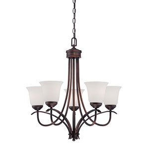 Kingsport Rubbed Bronze 25.5-Inch Five-Light Chandelier with Etched White Glass