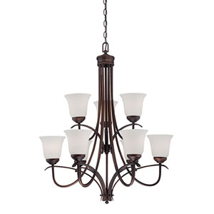 Kingsport Rubbed Bronze 29-Inch Nine-Light Chandelier with Etched White Glass