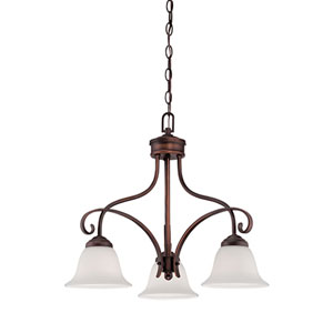 Kingsport Rubbed Bronze 23-Inch Three-Light Chandelier with Etched White Glass