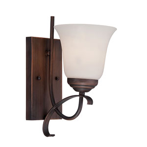 Kingsport Rubbed Bronze 12-Inch One-Light Wall Sconce with Etched White Glass