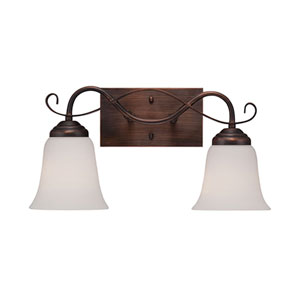 Kingsport Rubbed Bronze 16-Inch Two-Light Vanity with Etched White Glass