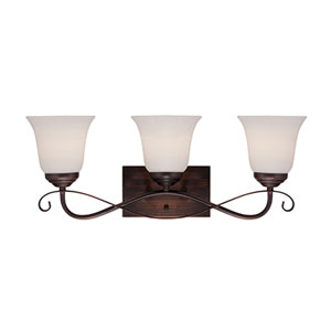 Kingsport Rubbed Bronze 23.5-Inch Three-Light Vanity with Etched White Glass