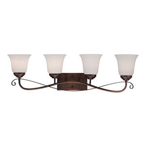 Kingsport Rubbed Bronze 32.5-Inch Four-Light Vanity with Etched White Glass