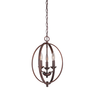 Rubbed Bronze 12-Inch Three-Light Pendant