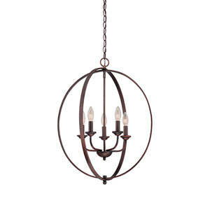 Rubbed Bronze 20-Inch Five-Light Pendant