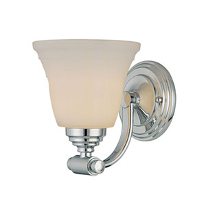 Chrome Two-Light Bath Light with Etched White Glass