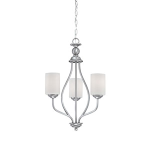 Lansing Brushed Pewter 13-Inch Three-Light Chandelier with Etched White Glass