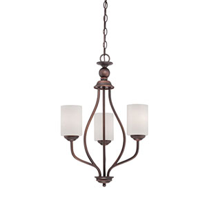 Lansing Rubbed Bronze 13-Inch Three-Light Chandelier with Etched White Glass