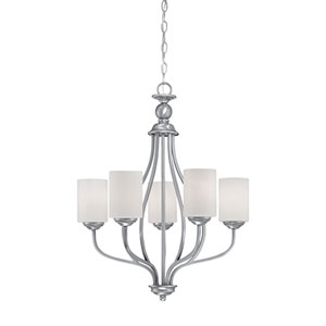Lansing Brushed Pewter 23-Inch Five-Light Chandelier with Etched White Glass