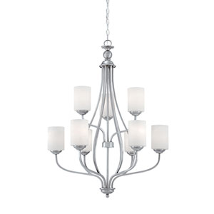 Lansing Brushed Pewter 28-Inch Nine-Light Chandelier with Etched White Glass