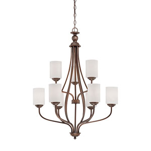 Lansing Rubbed Bronze 28-Inch Nine-Light Chandelier with Etched White Glass