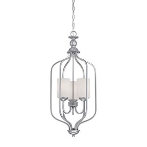 Lansing Brushed Pewter 13.5-Inch Three-Light Pendant with Etched White Glass