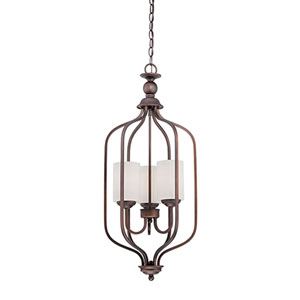 Lansing Rubbed Bronze 13.5-Inch Three-Light Pendant with Etched White Glass