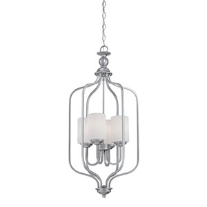 Lansing Brushed Pewter 16-Inch Four-Light Pendant with Etched White Glass